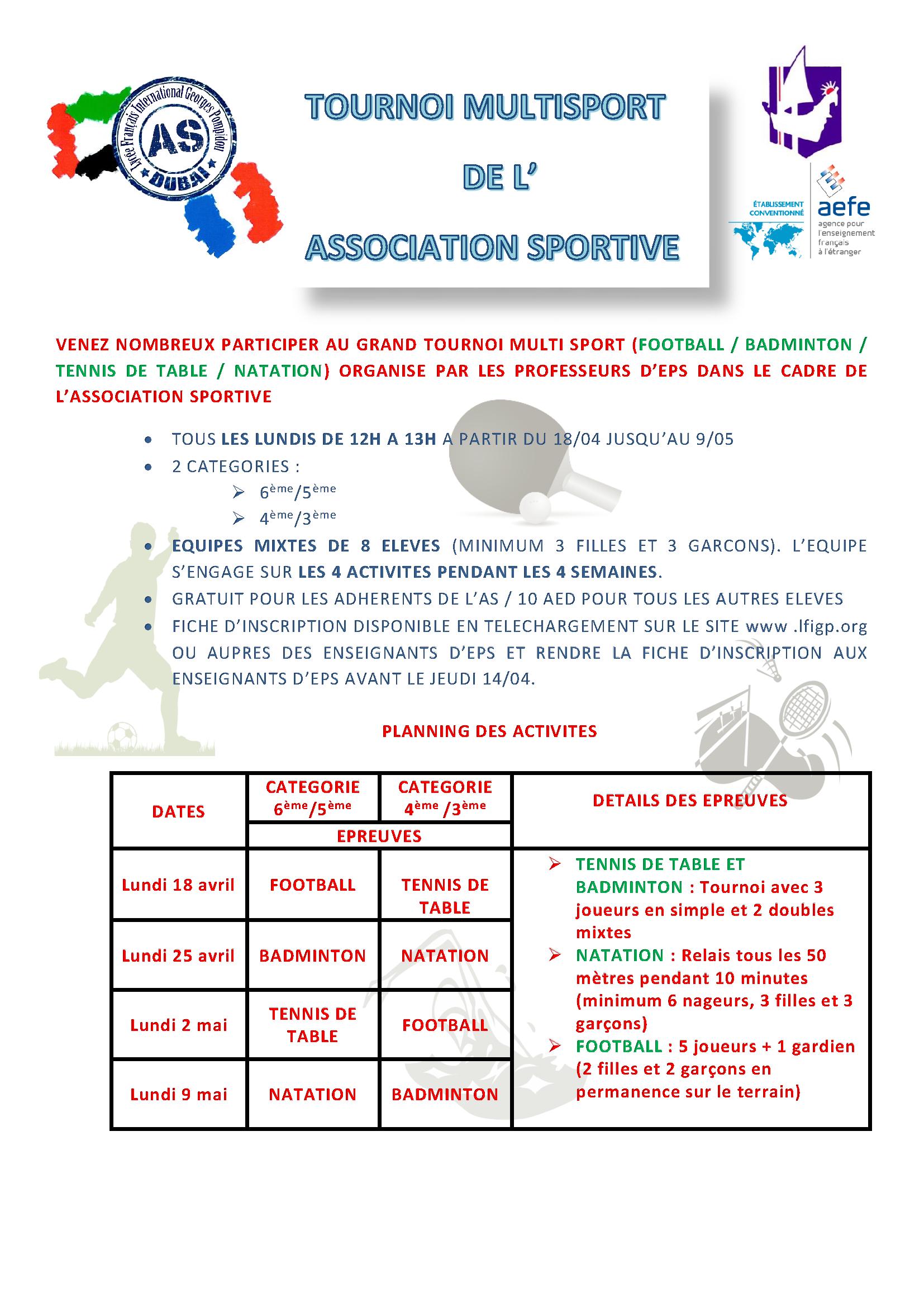affiche tournoi multi sport